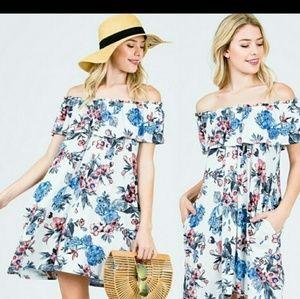 Dresses & Skirts - FLORAL OFF SHOULDER DRESS